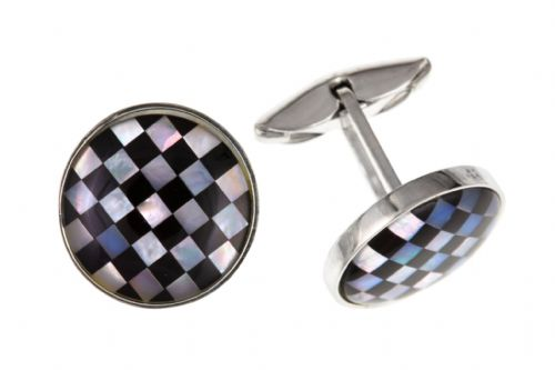 Sterling Silver Onyx And Mother Of Pearl Round Cufflinks